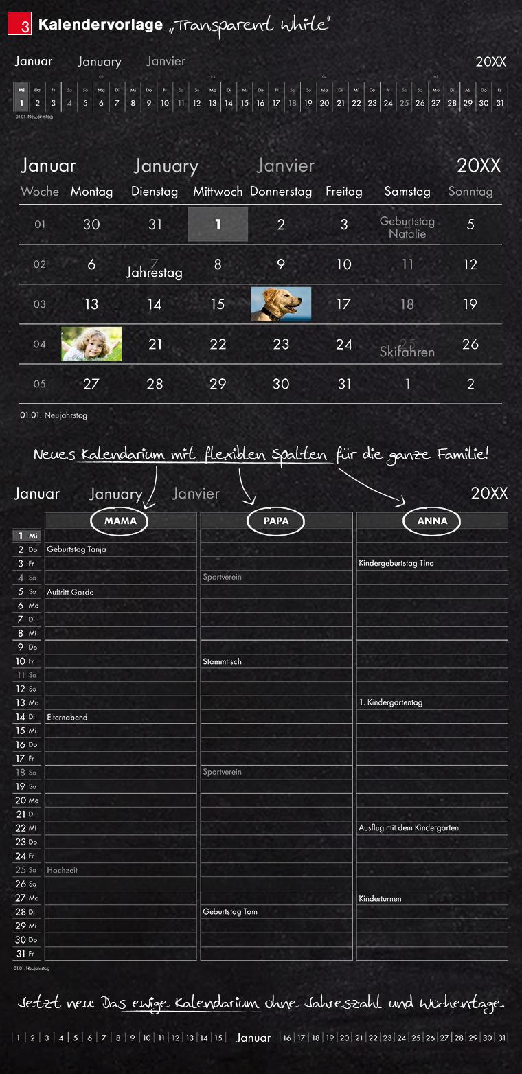 Kalendervorlage transparent