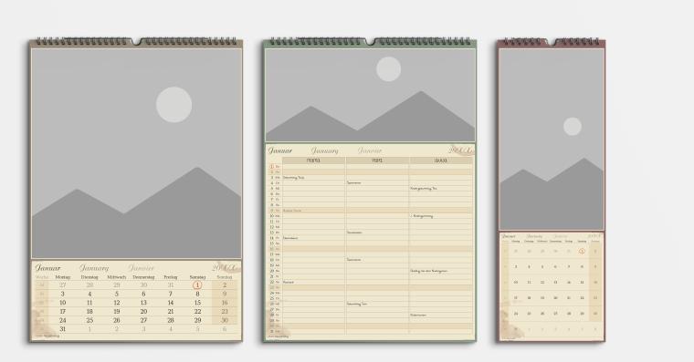 Gratis Kalendervorlage im Vintage Stil
