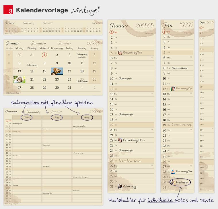 Kalendervorlage Vintage