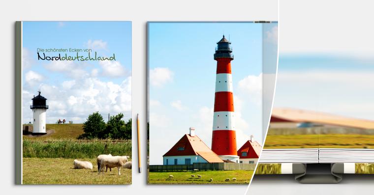 LayFlat Fotobuch DIN A4 hoch erstellen mit Hardcover